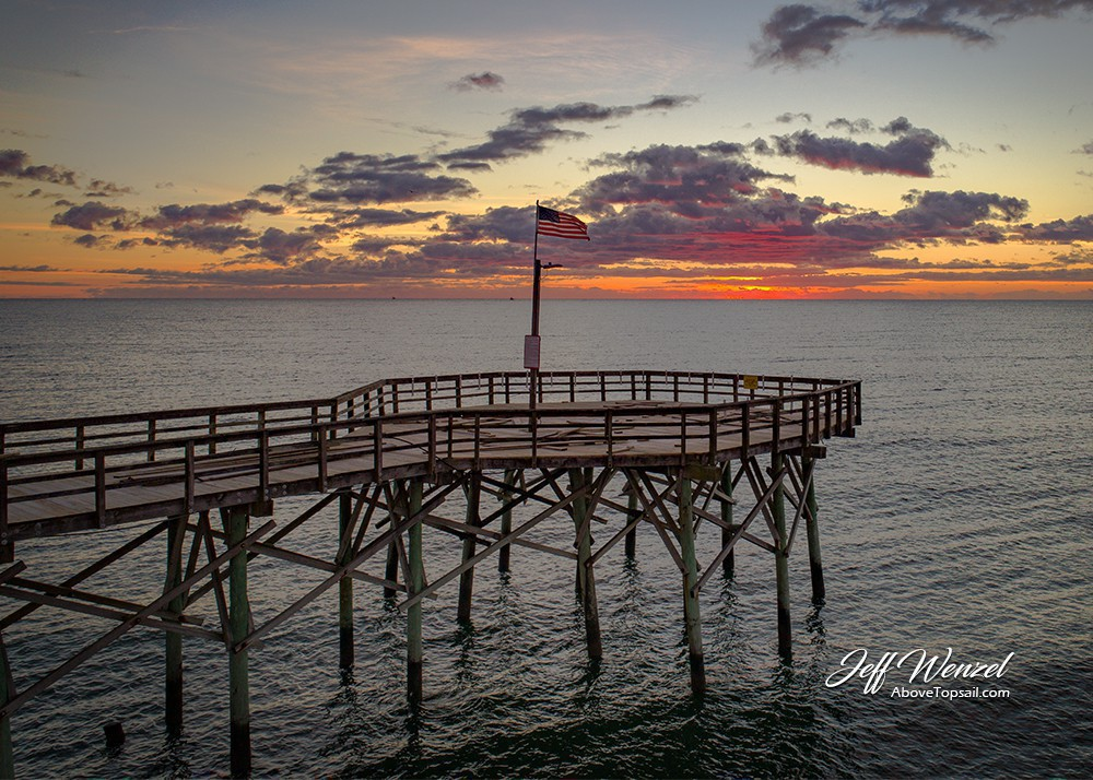 Jw105 seaview pier tip sunrise above topsail for Topsail fishing pier