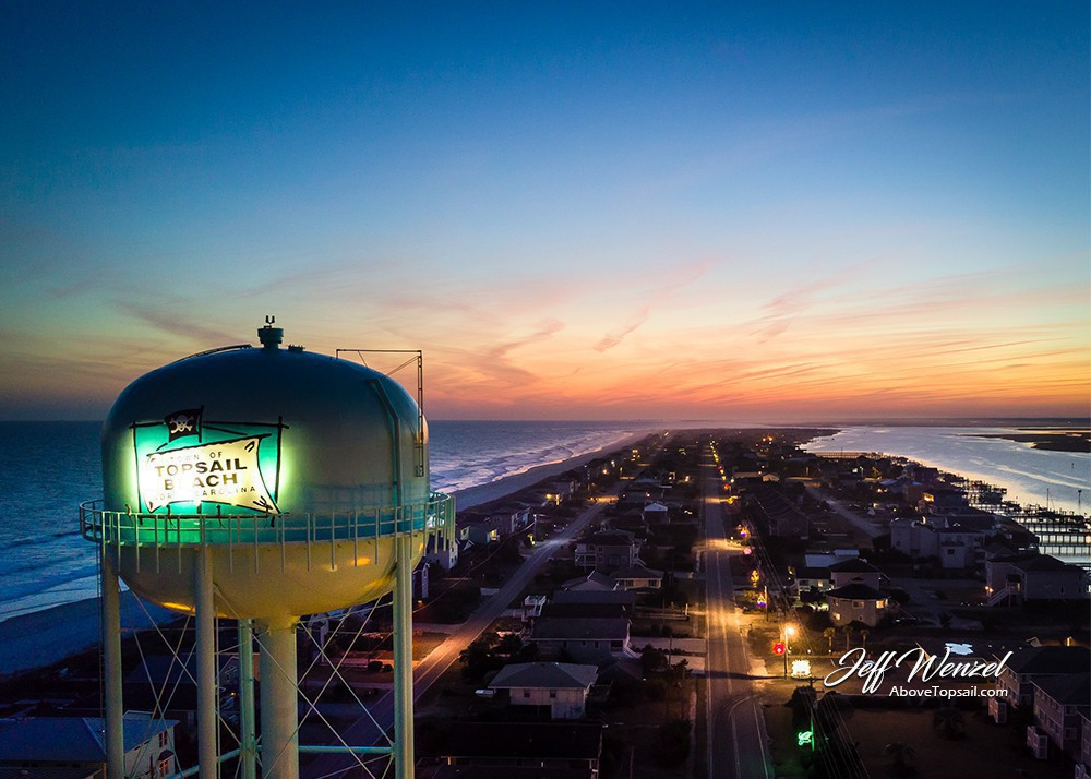 Jw098 Topsail Beach Water Tower Sunset Above Topsail