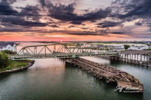 JW013: Swing Bridge Sunrise Purple Clouds