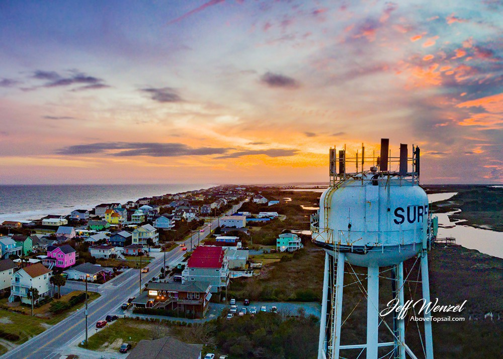 Jw022 Surf City Water Tower Rainbow Sunset Above Topsail