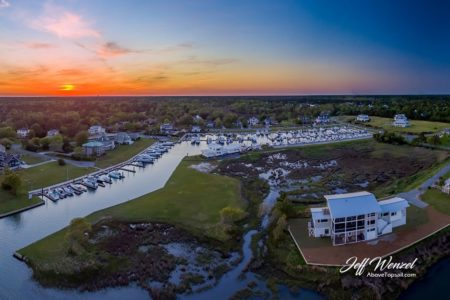 CLOSEOUT JW023: Harbour Village Marina Clubhouse Sunset