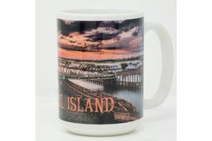 Mug: Surf City Swing Bridge Sunrise Purple Clouds
