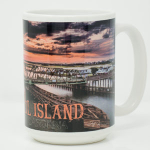 Mug: Surf City Swing Bridge Sunrise Purple Clouds