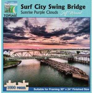 Puzzle: Surf City Swing Bridge Sunrise Purple Clouds (JW013)