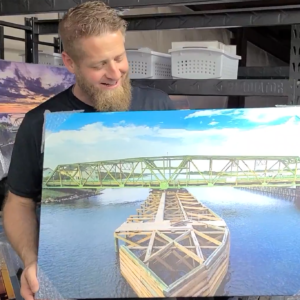 """Inventory Reduction: """"Swing Bridge Daylight at 90 Degrees"""" 20×30″ Canvas"""