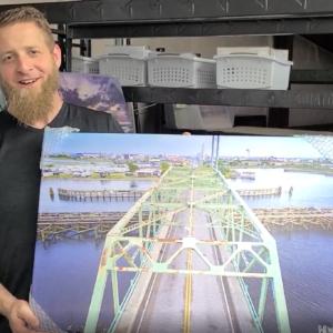 "Inventory Reduction: ""Swing Bridge Island Time Begins"" 20×30″ Canvas"