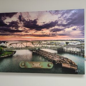 Metal Piece on JW013 Swing Bridge Sunrise Purple Clouds